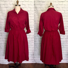 Load image into Gallery viewer, 80s does 50s Shirtwaist Dress  Burgundy Dark Red Valentines day 1980s Secretary Holiday Christmas Plus Size