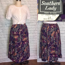 Load image into Gallery viewer, 1980s Skirt high waist Rayon Elastic Waist Elastic Plus Size 18 XL Abstract purple Print, Pockets
