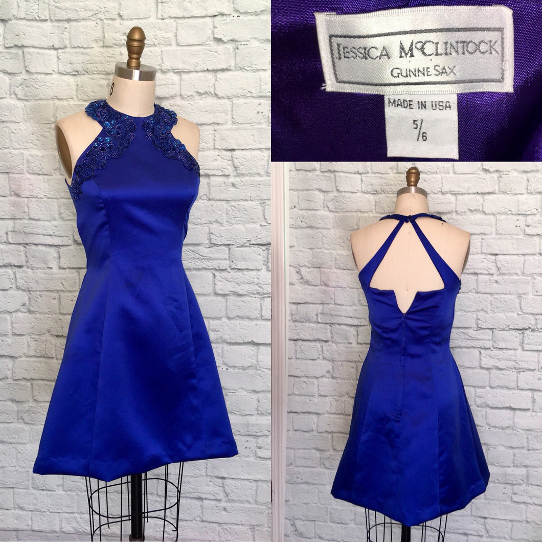 80s 90s Gunne Sax Short Prom Party Dress Royal Blue Satin 1990s Jessica McClintock Size 5 6 waist 28