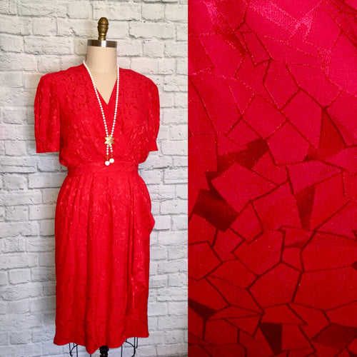 Abstract matte shiny Silk Print Party Dress 80s Red Valentines 1980s size Large 12 waist 30.5