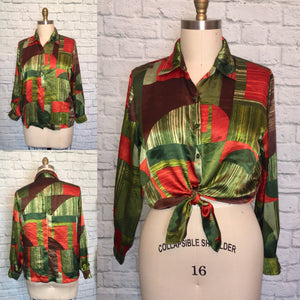 1970s disco Blouse secretary top shirt 90s does 70s Long Sleeve Green Red Satin Large Plus Size