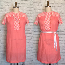 Load image into Gallery viewer, 1970s Shift Dress Short Sleeve Shirtwaist Plus Size Orange Coral Gingham Plaid Novelty Neckline