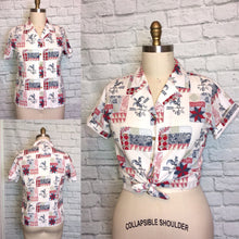 Load image into Gallery viewer, 90s does 70s blouse Patchwork Print Floral Rooster Bandana Print 1990s 90s size