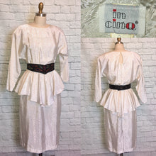 Load image into Gallery viewer, 80s White peplum Dress 1980s White Satin Floral Print black beaded Belt size Medium