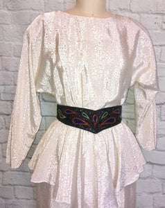 80s White peplum Dress 1980s White Satin Floral Print black beaded Belt size Medium