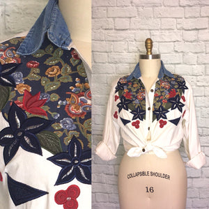 90s Western denim shirt embroidered floral patchwork Sleeve button front loose fit oversized size M