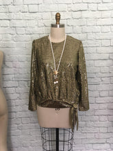 Load image into Gallery viewer, 80s Blouse Gold sequin lame Black Party Top Hip Tie 20s syle drop waist Party 1980s Plus Size 14
