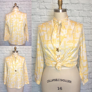 1970s disco Blouse secretary top shirt White Yellow Tie Neck Key Hole 70s Long Sleeve Plus Size Bust 44