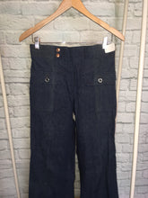 Load image into Gallery viewer, New Bellbottom Flares Dark Denim  70s Patch Pocket Vintage waist 30 long inseam 36 deadstock NWT