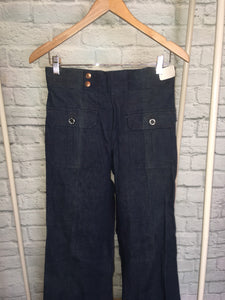 New Bellbottom Flares Dark Denim  70s Patch Pocket Vintage waist 30 long inseam 36 deadstock NWT
