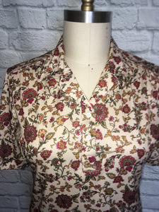 1970s disco Blouse Collar top shirt Button Tab Neck Dot Swirl short Sleeve Size Large 12