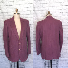 Load image into Gallery viewer, Purple mauve Blazer 46 Willy Wonka Joker Vegan Suede Suit Jacket Costume Menswear size 46 Long