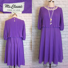 Load image into Gallery viewer, 70s Purple Disco Party Dress lace collar 3/4 Sleeve 1970s Size L Large Extra Plus 16