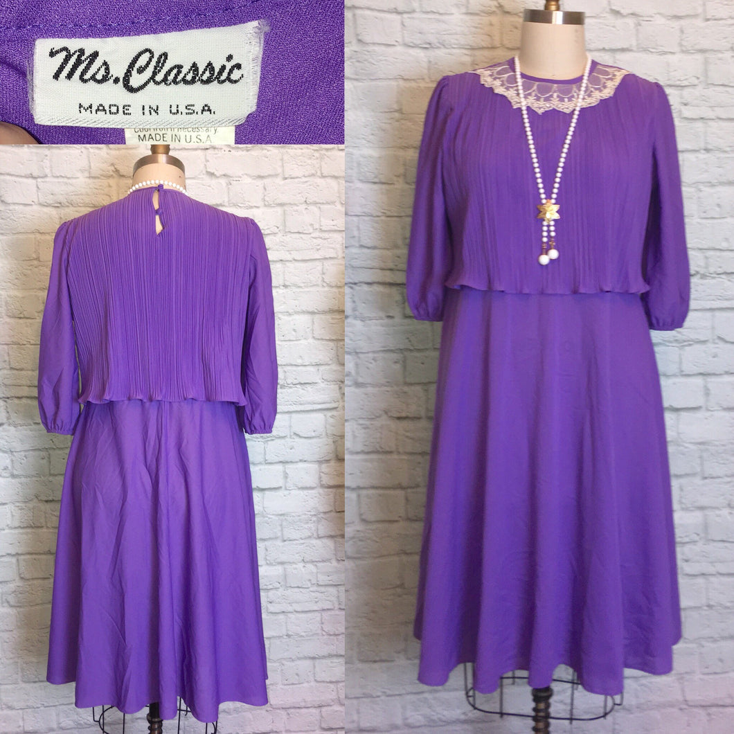 70s Purple Disco Party Dress lace collar 3/4 Sleeve 1970s Size L Large Extra Plus 16