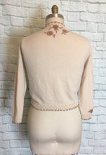 Load image into Gallery viewer, Vintage Sweater Cardigan GLAM 50s Cardigan 3D Floral Beaded Neckline- Ivory Copper M L