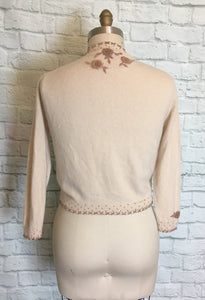 Vintage Sweater Cardigan GLAM 50s Cardigan 3D Floral Beaded Neckline- Ivory Copper M L