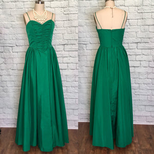 1980s Party Prom Dress Kelly Green 1950s Style gathered Front Southern Belle Size Small Medium W29