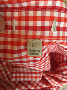 Red Check Gingham Blouse Top Shirt, Plaid Long Sleeve Secretary XL