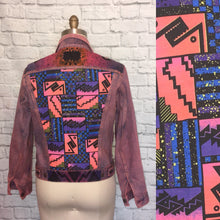 Load image into Gallery viewer, Unisex 80s Denim Jacket Upcyled redyed Levis Handpainted Size 42 Large Zigzag Print color jean denim