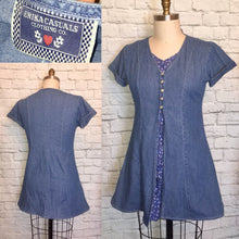 Load image into Gallery viewer, 90s Denim Blue Dress Faux overdress button front Mini Length Front Size Large