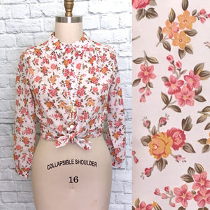60s Button Front Blouse Short Sleeves plaid floral Pink Orange White Peterpqn collar large