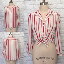 Load image into Gallery viewer, 1970s Blouse shirt Top Secretary 70s Candy Cane Stripe red Beige Navy long sleeves size Small