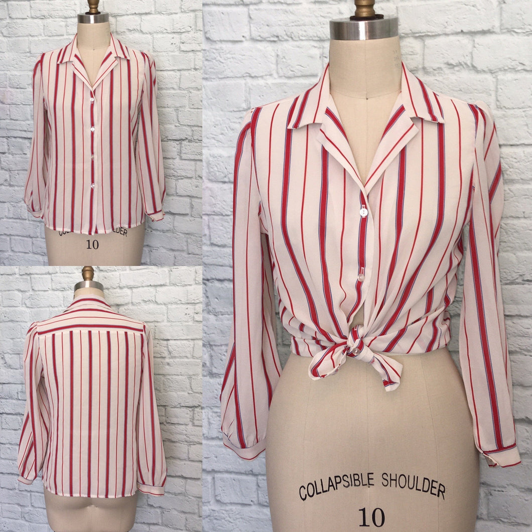 1970s Blouse shirt Top Secretary 70s Candy Cane Stripe red Beige Navy long sleeves size Small