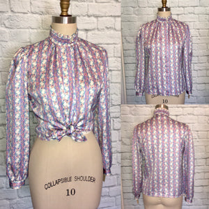 NWT 80s Lilac Print Blouse Floral Stripe Secretary top shirt Size medium 9 10