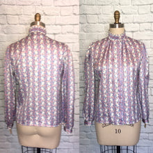 Load image into Gallery viewer, NWT 80s Lilac Print Blouse Floral Stripe Secretary top shirt Size medium 9 10