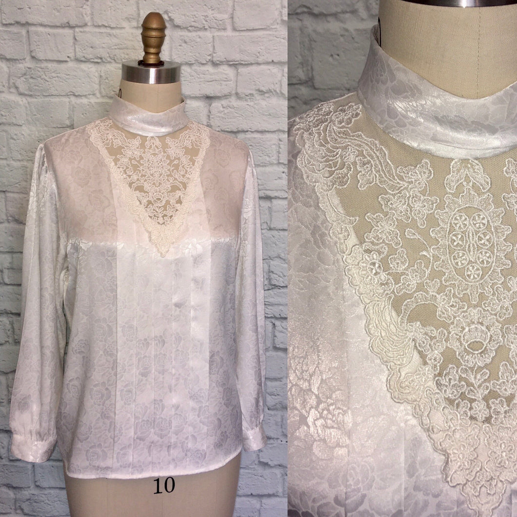 White High Neck Satin Floral 1980s Blouse Top Bodice Shirt Victorian Style Button back Size 12