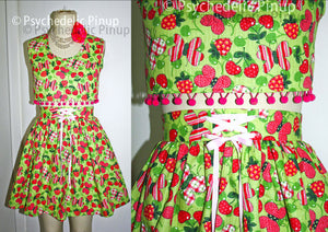 New OOAK Pinup Style Top & Skirt Set, Sexy Cherries Butterfly Print, Crop Top Skirt  2pc Dress High Waist Pom Pom Green Pink, Size M L Large