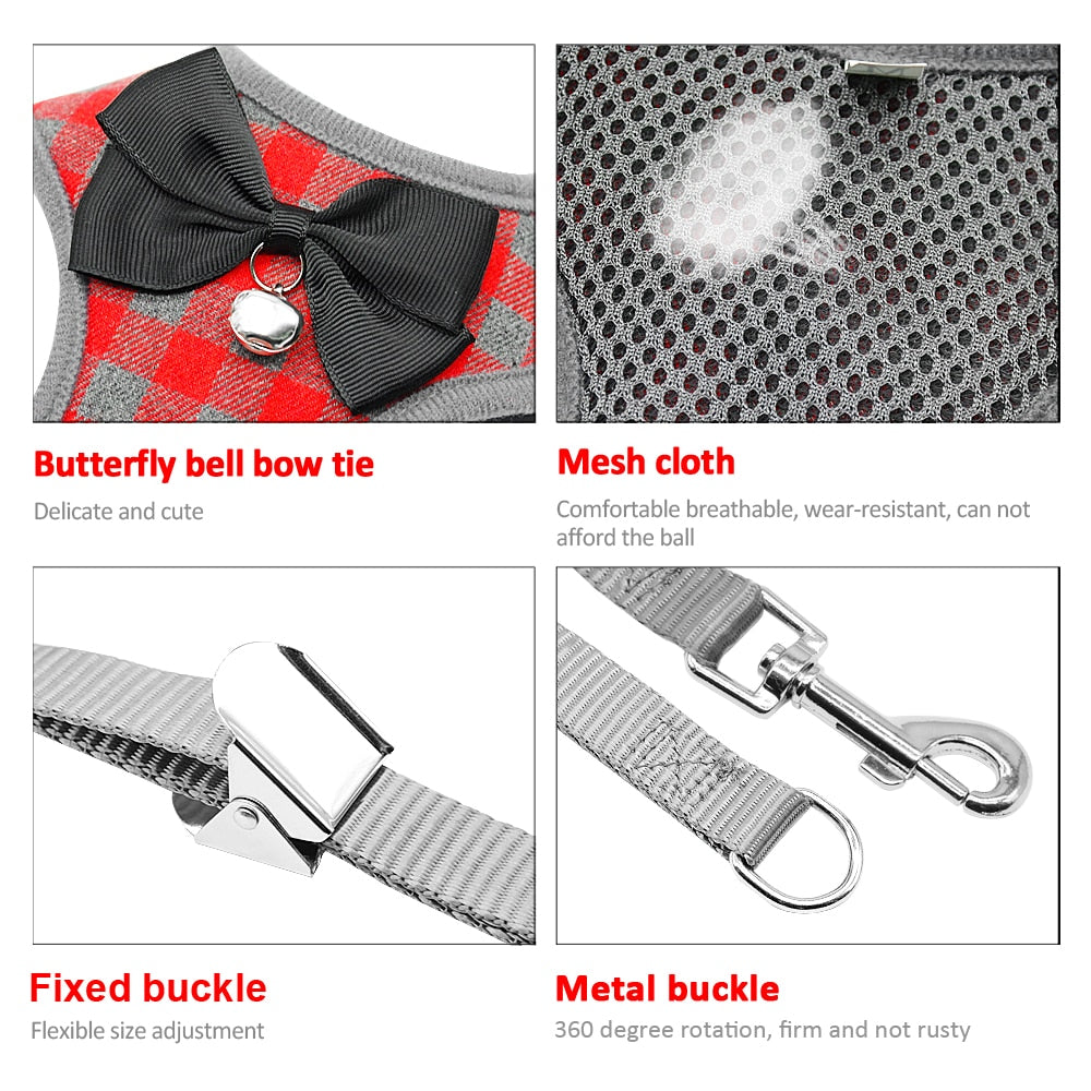 Checked Vest And Bow Harness For Cats/Dogs - Our Soul Tonic