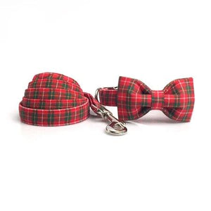Red Tartan Bow Tie Dog Collar And Leash - Our Soul Tonic