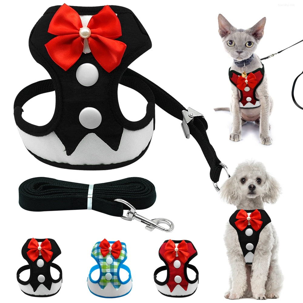 Vest And Bow Dog Harness - Our Soul Tonic