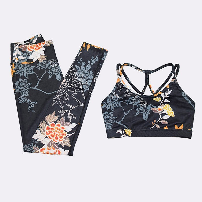 Seamless Sportset Black Floral - ShapingComfort