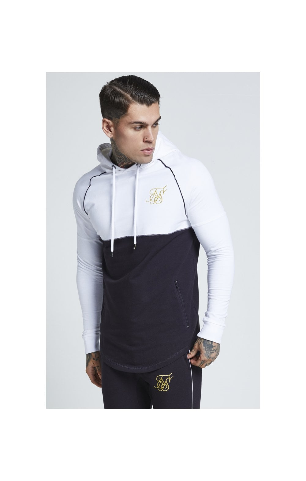 SikSilk Zonal Overhead Track Top – Navy & White