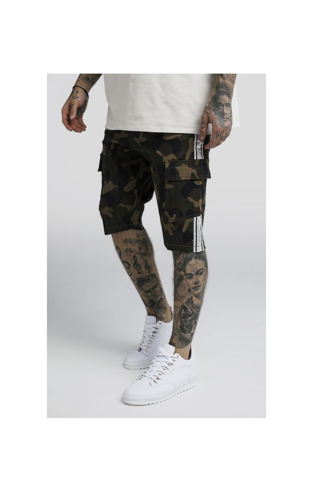 Load image into Gallery viewer, SikSilk Taped Cargo Shorts - Camo
