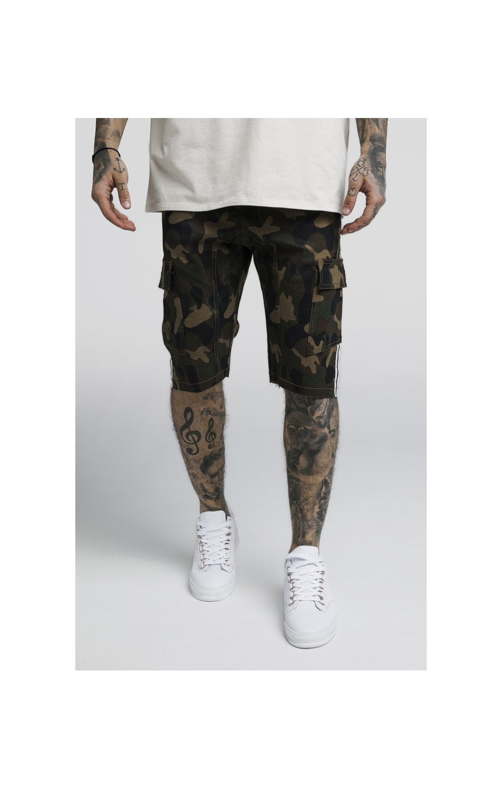Load image into Gallery viewer, SikSilk Taped Cargo Shorts - Camo (1)