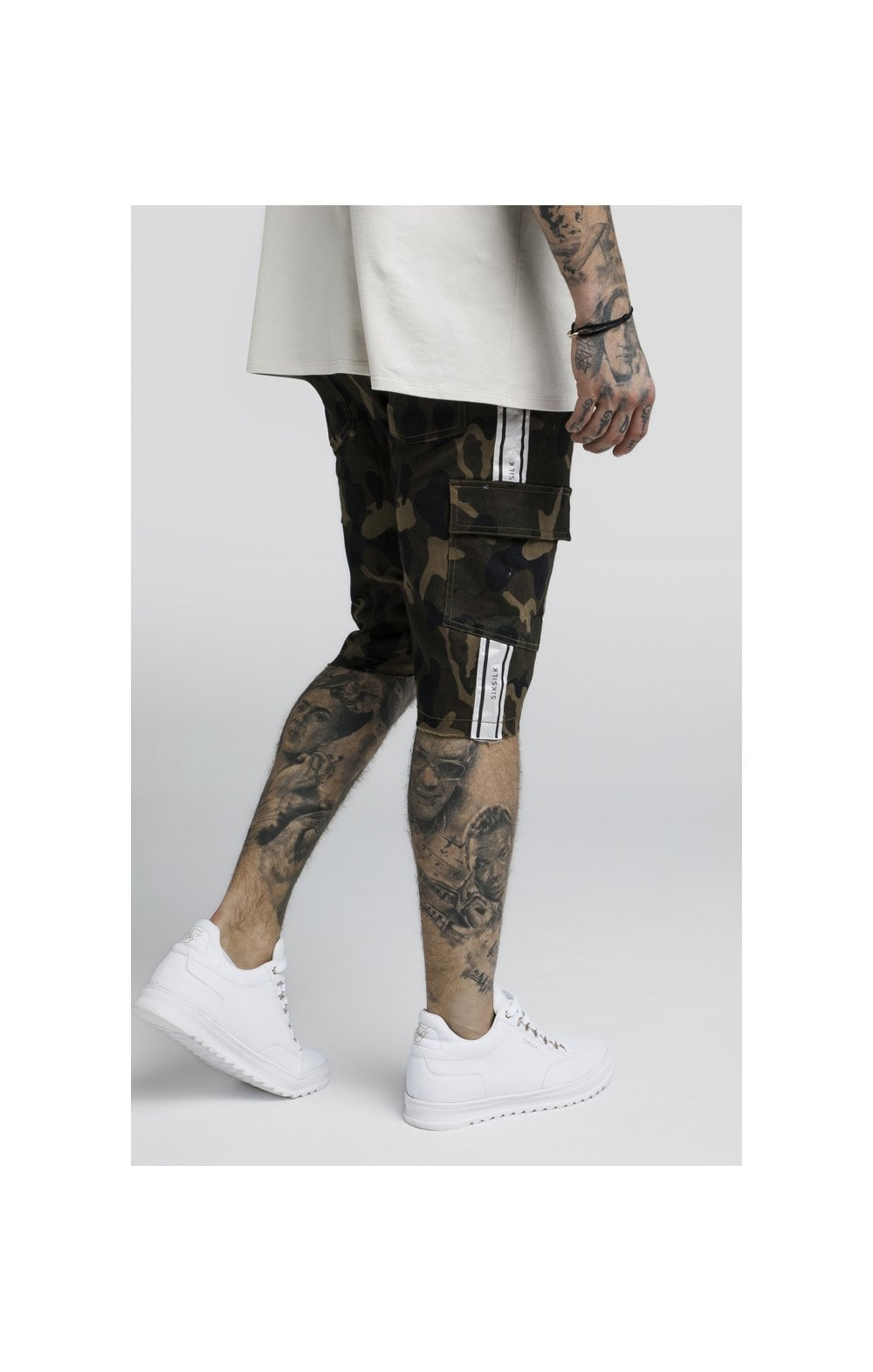 Load image into Gallery viewer, SikSilk Taped Cargo Shorts - Camo (2)