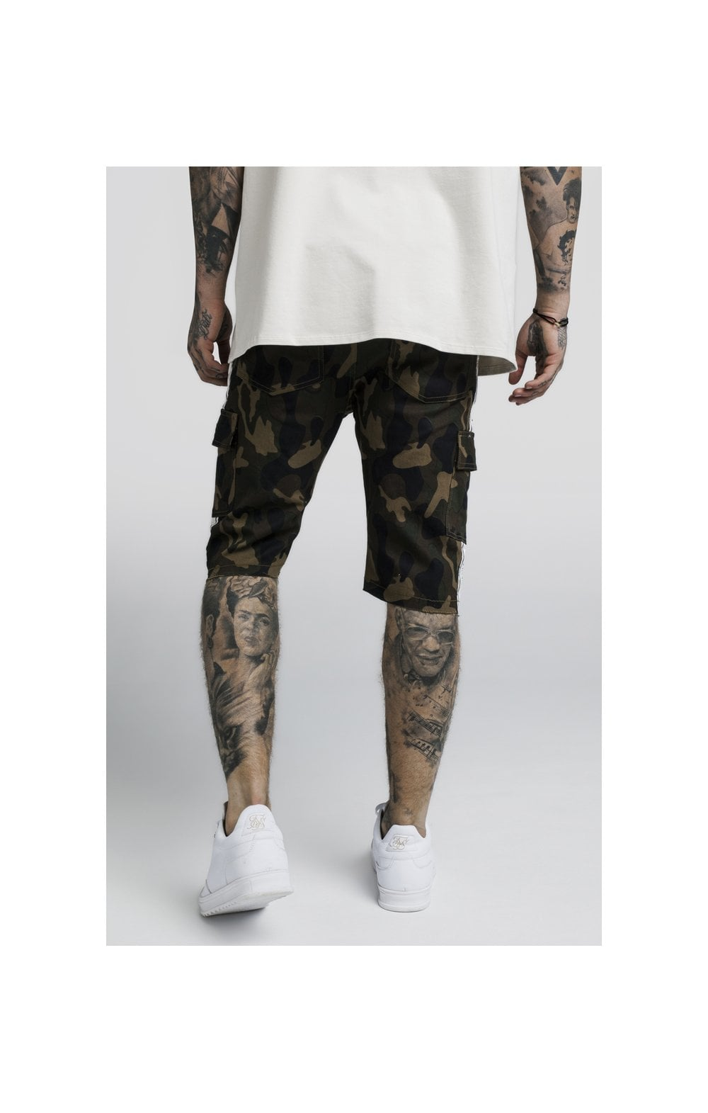 Load image into Gallery viewer, SikSilk Taped Cargo Shorts - Camo (3)