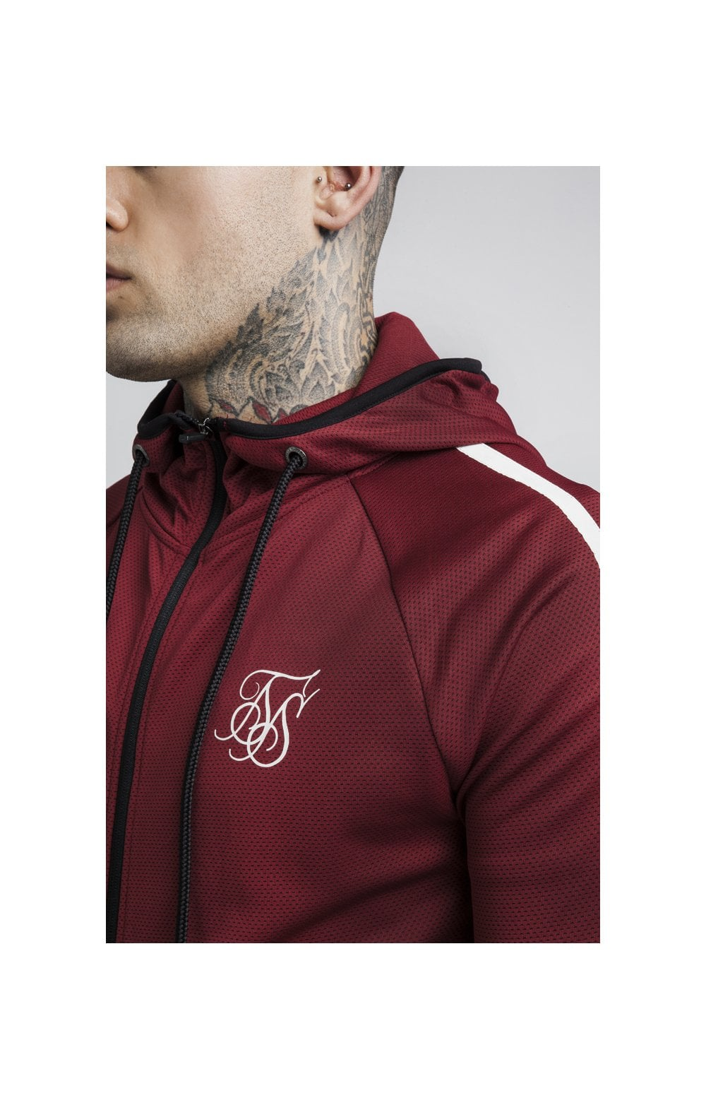 SikSilk Tech Athlete Zip Through Hoodie – Burgundy