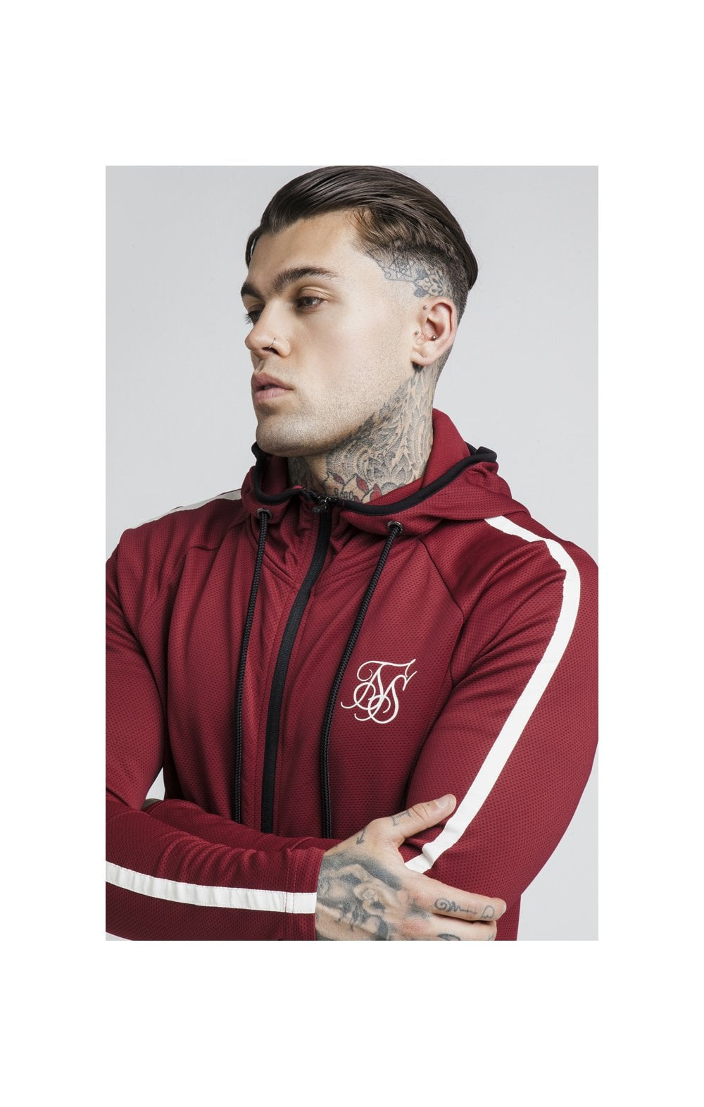 Load image into Gallery viewer, SikSilk Tech Athlete Zip Through Hoodie – Burgundy (1)