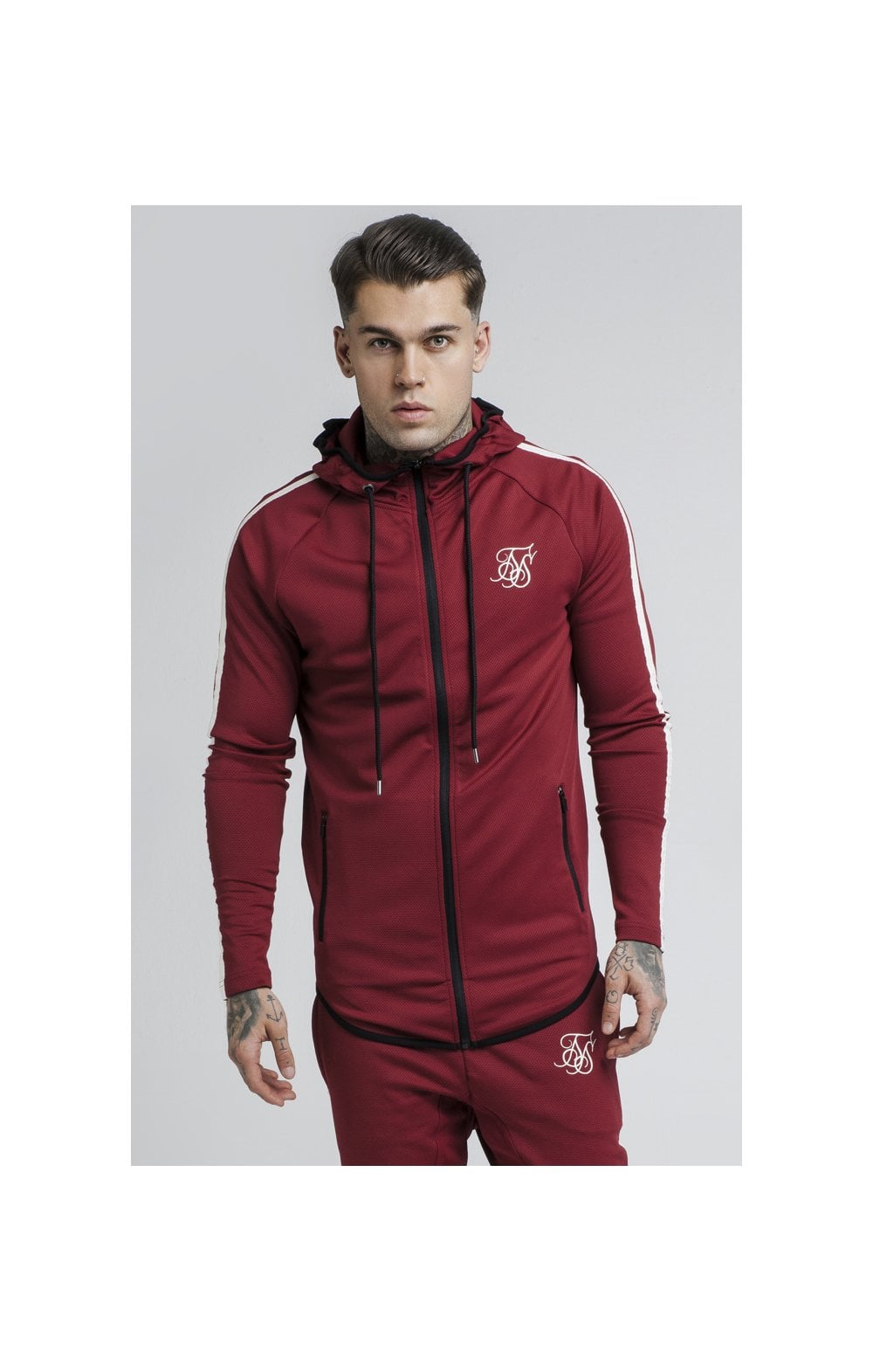Load image into Gallery viewer, SikSilk Tech Athlete Zip Through Hoodie – Burgundy (2)