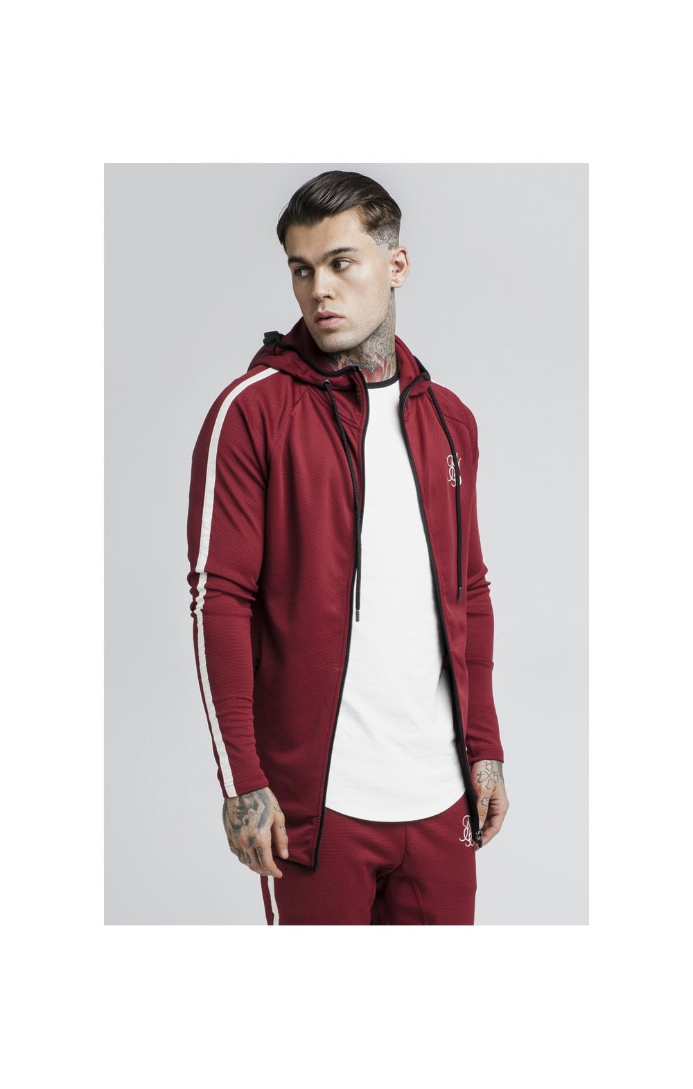 Load image into Gallery viewer, SikSilk Tech Athlete Zip Through Hoodie – Burgundy (3)