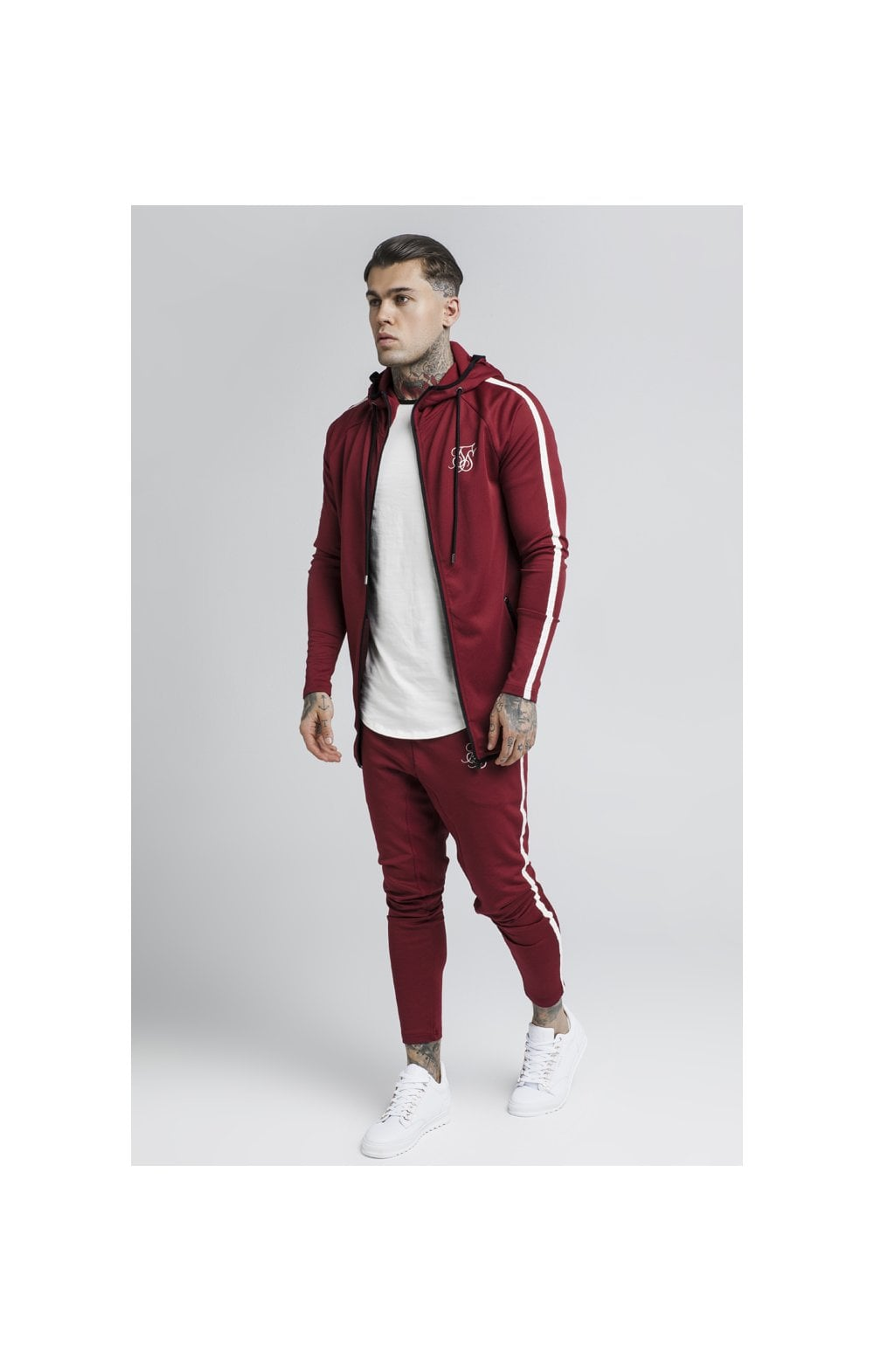 Load image into Gallery viewer, SikSilk Tech Athlete Zip Through Hoodie – Burgundy (4)