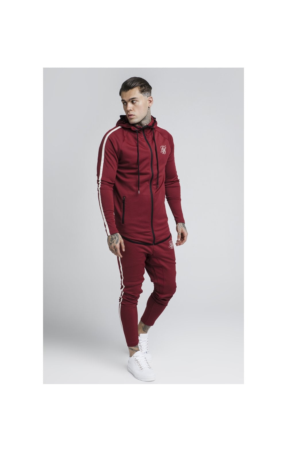 Load image into Gallery viewer, SikSilk Tech Athlete Zip Through Hoodie – Burgundy (6)