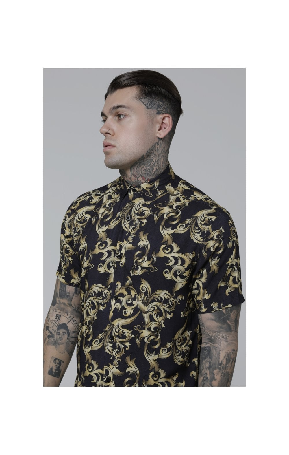 SikSilk S/S Resort Shirt – Navy Venetian