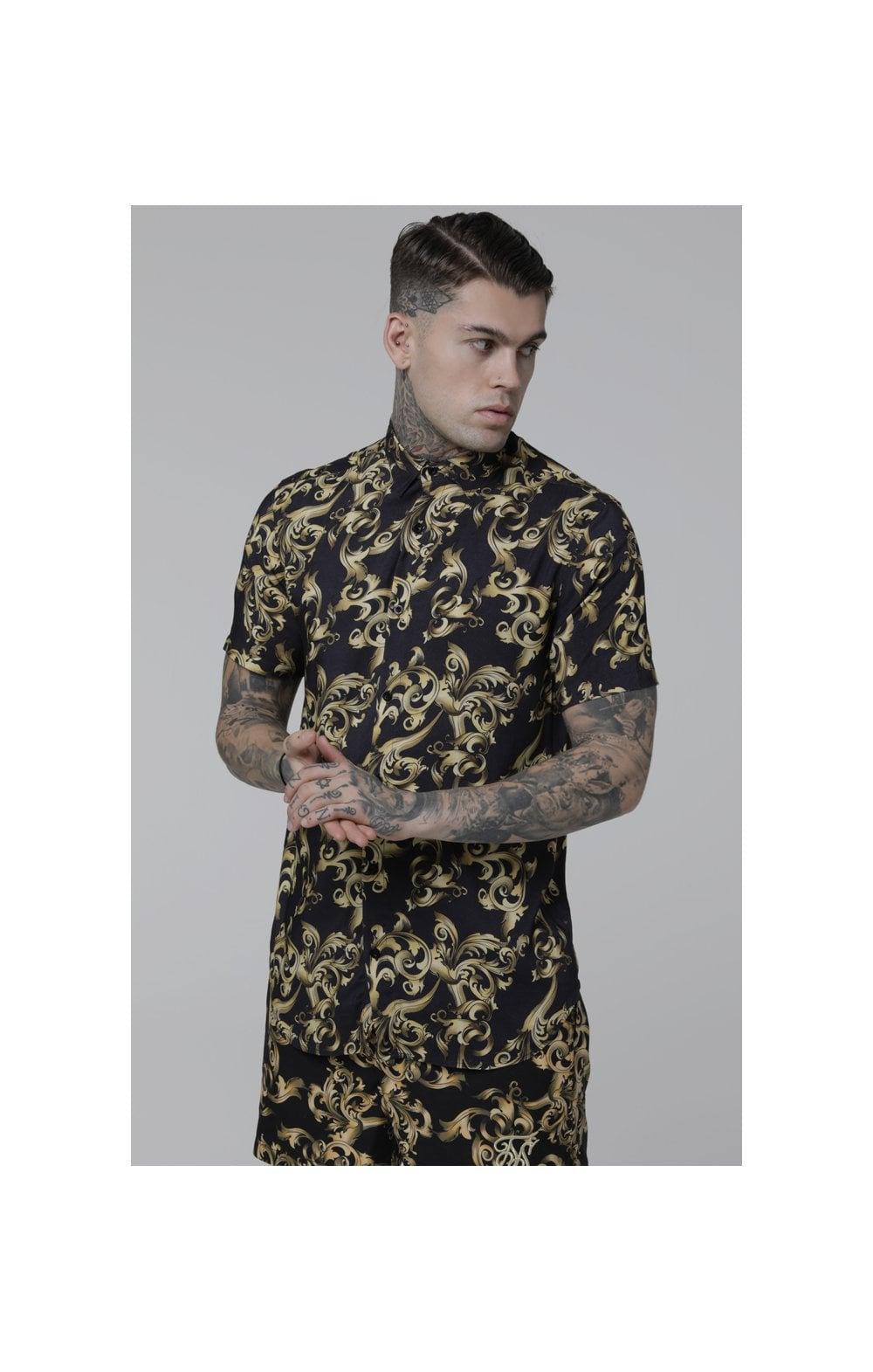 SikSilk S/S Resort Shirt – Navy Venetian (1)