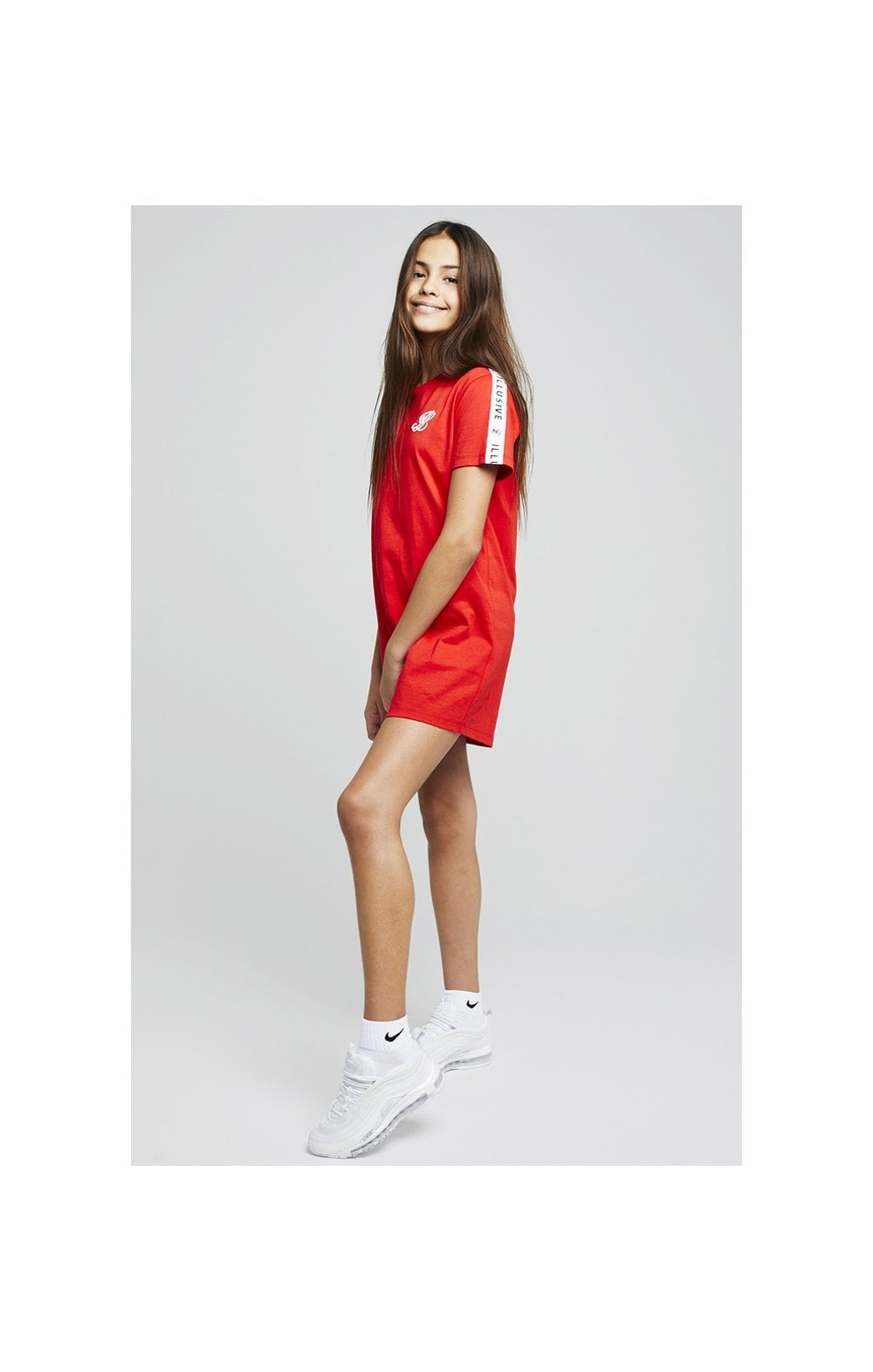 Load image into Gallery viewer, Illusive London Taped Tee Dress - Red (3)