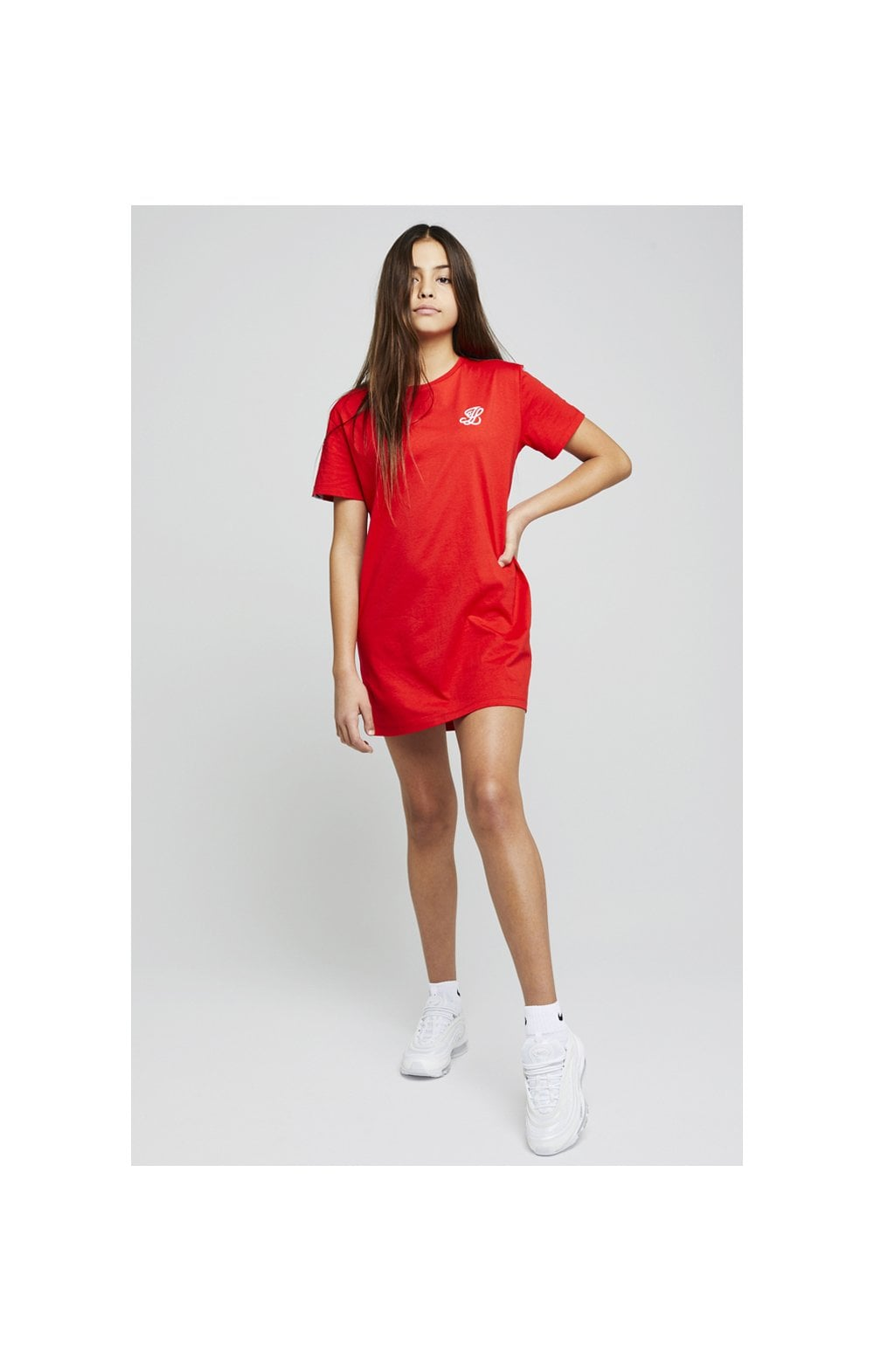 Load image into Gallery viewer, Illusive London Taped Tee Dress - Red (4)